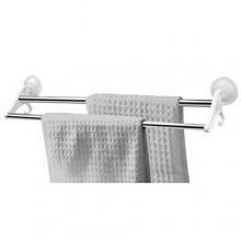 Porta asciugamani bagno fissaggio a ventosa 2 aste acciaio supporto 2 appendini