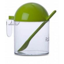 Zuccheriera in plastica con piccolo cucchiaino coperchio pratico lavastoviglie