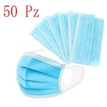 50x Mascherine per adulti chirurgiche blu mascherina protezione virus traspirante e leggera