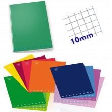 10x quaderno monocromo by Pigna A4 tinta unita 80g a quadretti grandi 1 cm