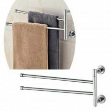 Porta asciugamani da parete 2 braccia girevoli bagno acciaio regolabile moderno