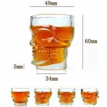 Skull Shot Bicchierini in vetro a forma di Teschio da shot per cocktail shottini - set di 4 pezzi