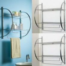 Mensole con portasciugamani da bagno 5x26.5x55 Cm due ripiani fissaggio a muro