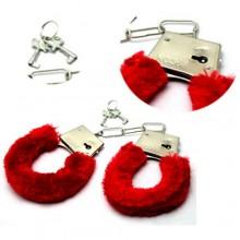 Manette in peluche bondage ricoperte con 2 chiavette rosse manette giocattolo