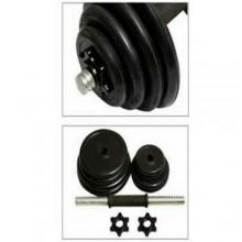Set 2 manubri dischi kit allenamento completo 20kg pesi bilanciere 10kg manubrio