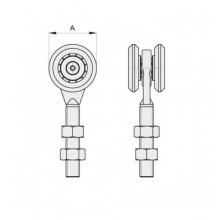 Carrello fisso a 2 cuscinetti per monorotaia porta o portone scorrevole ferro