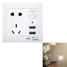 Presa muro interfaccia USB 2 porte pulsante di accensione presa alimentazione