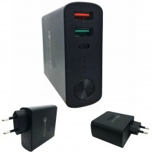 Power bank con caricabatterie da muro 9x7x2.7 Cm quick charge 3.0 6000mAh carica