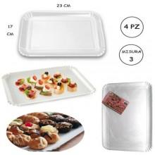 Vassoi bianchi cartone per pasticceria e rosticceria alimentari alimenti monouso