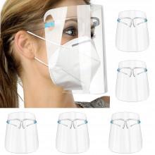 5x Visiera protettiva trasparente anti saliva con occhiale protezione viso visiere