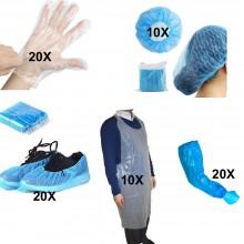 Kit 80 dispositivi usa e getta in PE guanti copri testa grembiule copri scarpe copri maniche
