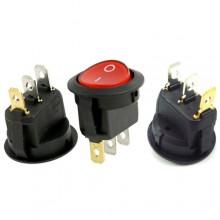 3x Interruttore a bilanciere 12-24V Max 10A unipolare tasto rosso Led switch tondo acceso spento