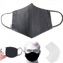 Mascherina copertura viso cotone poliestere con 50 di ricarica in tnt filtri aria lavabile e riutilizzabile con morbidi elastici