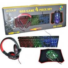 Set 4 in 1 da gioco gaming RGB set con filo professionale tastiera mouse cuffie mouse pad illuminata USB AS-1088mouse 6 tasti