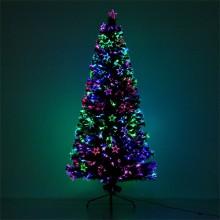 Albero di natale addobbato 150Cm luci multicolore presa elettrica punta a stella