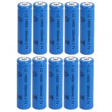 10x BATTERIA RICARICABILE LC 14500 1300mAh 3.7V batterie ricaricabili blu 14x50mm