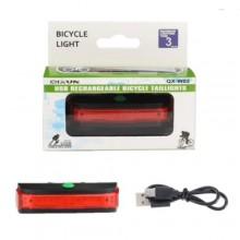 Luce posteriore per bicicletta ricaricabile LED QX-W02 cavo USB visibilità bici