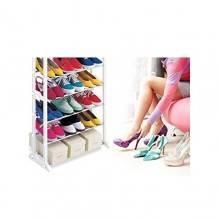 Scarpiera scaffale con 10 ripiani plastica metallo 52 x 24.5 x 139 cm per 30 paia di scarpe