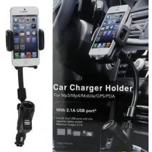 Supporto cellulare smartphone con porta accendisigari e porta USB 2.1A universal