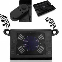Supporto PC con casse speaker audio base raffreddamento e ventola per notebook