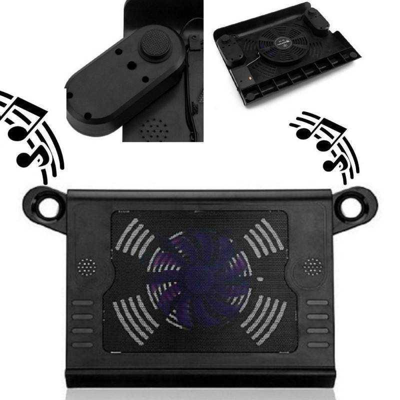 Supporto PC con casse speaker audio base raffreddamento e ventola per notebook