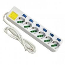 Multipresa 6 posizioni con interruttori - Ciabatta elettrica 6 Posti 10/16A Bipasso Schuk