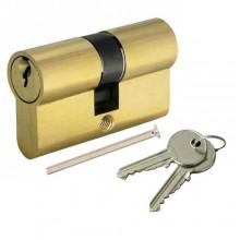 Serratura a cilindro 80 mm per porta con 2 chiavi senza pomello ottone lucido