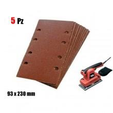 5x Fogli di carta vetrata abrasiva rettangolare 93x230 mm Grana 80 con 8 fori