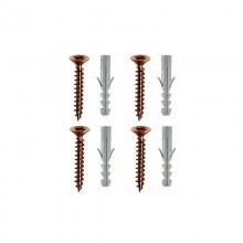 Vite bronzata con 4 tassello in plastica 4 viti 5x70 mm +E12 fissaggio a muro