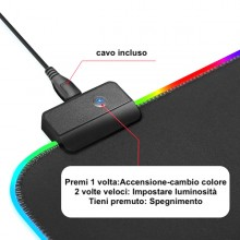 Tappetino mouse tappeto XXL RGB mousepad 800 300 mm led cambio colore gaming