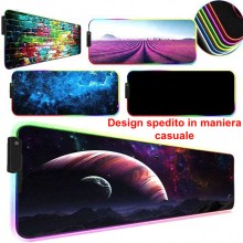 Tappetino mouse tappeto XXL RGB mousepad 800 300 mm led trama design casuale