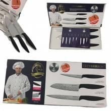 Set 3 coltelli professionali manico antiscivolo finitura elegante chef sfiletta