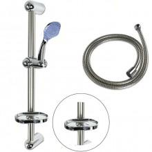 Asta doccia saliscendi acciaio set completo doccetta 5 funzioni multigetto tubo