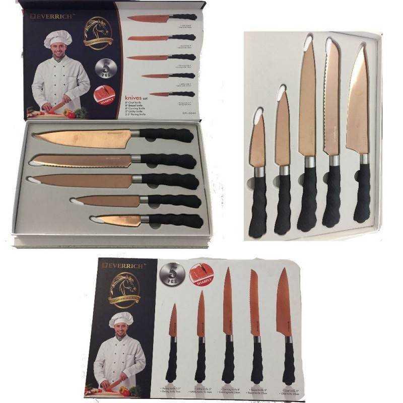 Set 5 coltelli professionali manico antiscivolo finitura elegante chef sfiletta