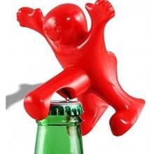 Apribottiglie cavatappi e tappo ermetico di chiusura vino birra sexy omino felice party festa- Colore ROSSO