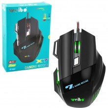 Mouse Gaming X7 cablato da gioco 3600 DPI illuminato Led RGB 1.8M USB PC gaming