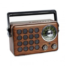 Cassa portatile Bluetooth design vintage in legno speaker bt AUX USB 20x13x7 Cm