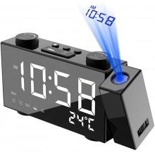 Radio sveglia con proiettore luce Led blu rotazione proiettore 180 gradi USB