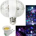Lampada  Mini Proiettore RGB doppia rotazione LED E27 effetto disco per feste discoteca con adattatore per presa corrente