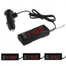 Voltometro Termometro Orologio 3 in 1 digitale LED rosso 0-33V per interni 12V