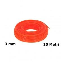 Filo di ricambio decespugliatore zincato plastificato 3 mm x 10 mt arancione