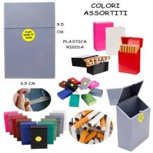 3x CUSTODIA CASE SIGARETTE PLASTICA RIGIDA COLORI ASSOSRTITI PUSH HERE TO OPEN