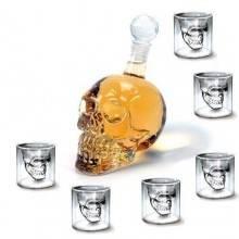 Skull Head bottiglia teschio con bicchieri in vetro disegno moderno per liquore birra e vino - ottima idea regalo