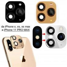 3x Adesivo fotocamera finta da iPhone X XS Max a iPhone 11 PRO MAX lente foto