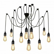 Lampadario porta lampade a sospensione 12 pendenti nero E27 ragno vintage regola