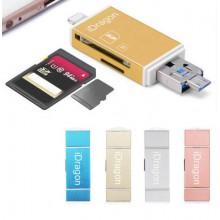 Lettore micro SD schede di memoria attacco Lightning e micro USB Supporto FAT32