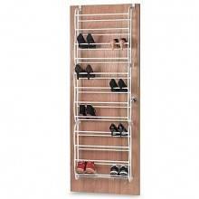 Scarpiera con supporti per montaggio a porta spessorata in plastica e metallo per 36 paia di scarpe con 12 ripiani