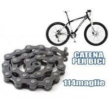 "Catena ricambio bicicletta 1/2"" x 1/8"" 114 Maglie strada bike acciaio bici 144L"