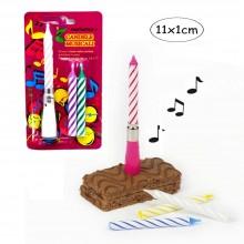 2x Candeline per compleanno base musicale rosa azzurra bianca supporto candelina
