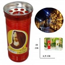 Lumino votivo T.40 15 x 6.5 Cm extra Santo Padre Pio Candela cera bianca cero